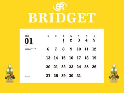 カレンダー 2019年1月 1600×1200